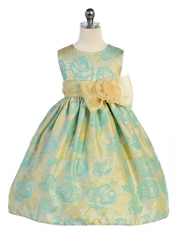 Floral Dress with Organza Sash