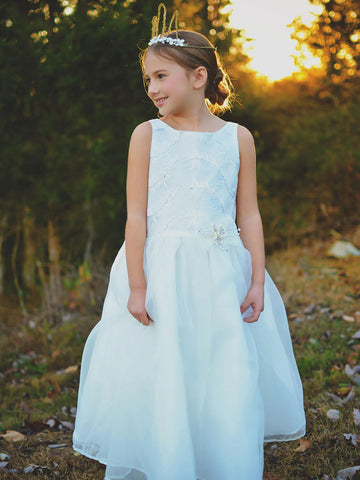 Flower girl dresses ivory flower girl dresses just unique boutique a line organza dress with feather details mightylinksfo