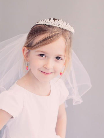 Princess  Rhinestone Crown Communion Veil