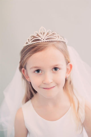 Holy communion rhinestone tiera with veil
