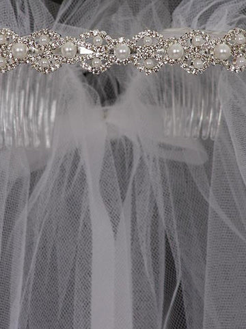 Rhinestone with Pearls Communion Veil