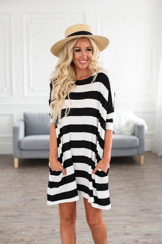 Boxy Stripes Top in Black and White