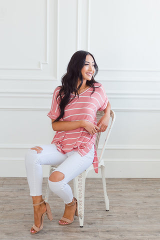 Eddie Stripe Rolled Sleeve Top