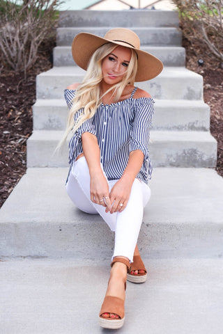 Kalimera Button Down Cold Shoulder Top