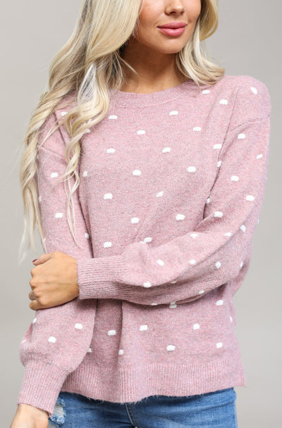 Be Cool Sweaters Pink / S / 11-D-06 Boyfriend Polka Sweater