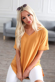 Zenana Outfitters Coming Soon Ash Mustard / S / 04-K-06 Caterina Rolled Sleeve Top