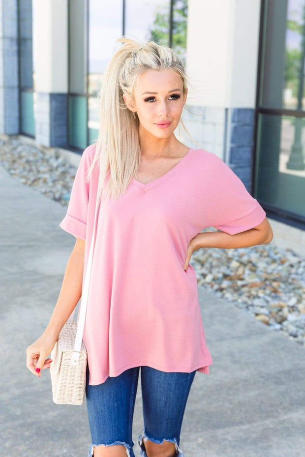 Zenana Outfitters Coming Soon Dusty Rose / S / 04-K-06 Caterina Rolled Sleeve Top