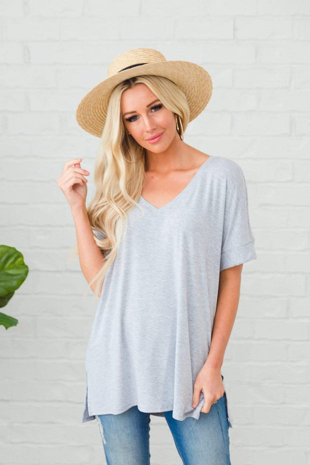 Zenana Outfitters Coming Soon Heather Grey / S / 04-K-06 Caterina Rolled Sleeve Top