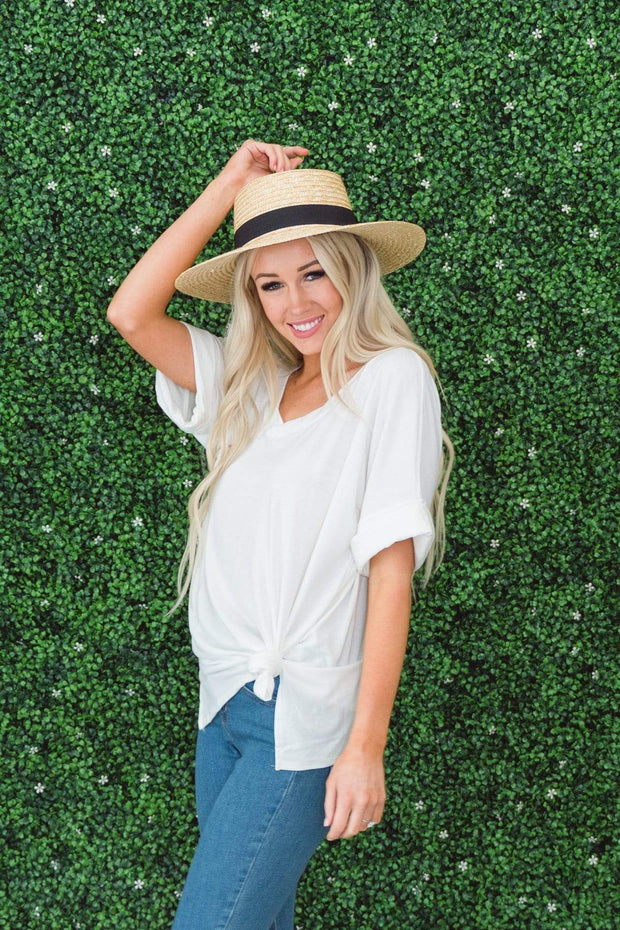 Zenana Outfitters Coming Soon Ivory / S / 04-K-06 Caterina Rolled Sleeve Top