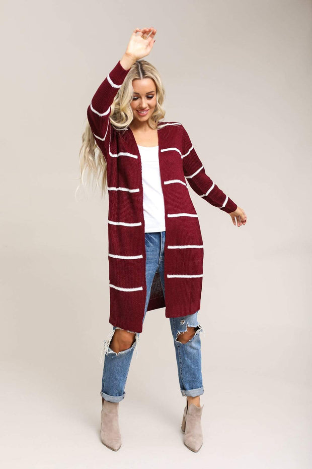 Active USA Coming Soon Burgundy/White / S / 04-Q-06 Coziest Ever Stripe Cardigan