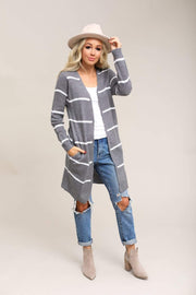 Active USA Coming Soon Charcoal Grey/White / S / 04-Q-06 Coziest Ever Stripe Cardigan