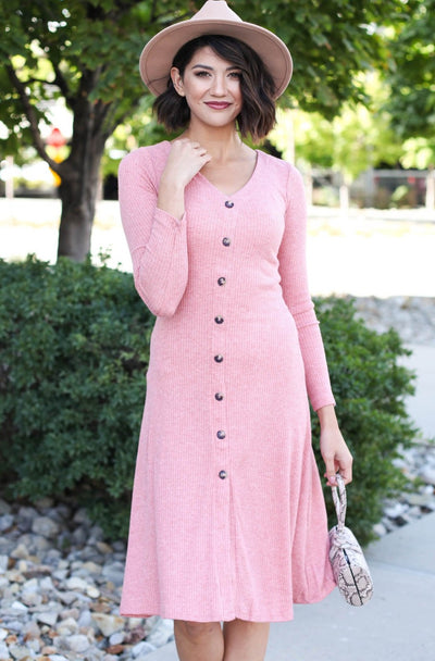 HYFVE Dresses Indie Pink / S / 03-B-06 Florentine Ribbed Dress