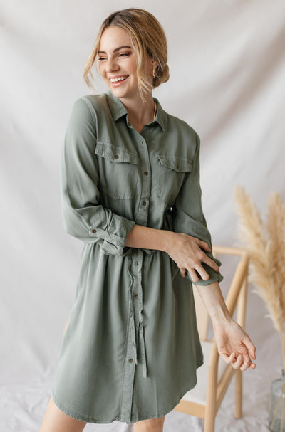 LOVE TREE Dresses Heritage Button Down Shirt Dress