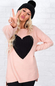 Mak Tops Pink/Black / S / 27-E-05 Key to My Heart Sweater