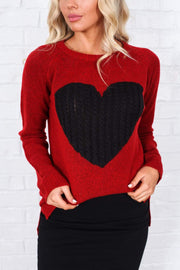 Mak Tops Red/Black / S / 27-E-05 Key to My Heart Sweater