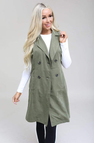 LOVE TREE Vests Max Long Button Vest