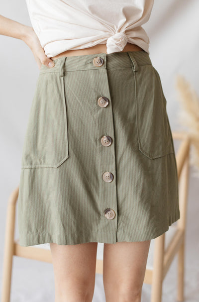 Blu Pepper Skirts Olive Stripe Button Down Mini Skirt