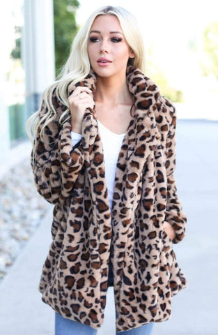 LOVE TREE Outerwear Posh Leopard Coat