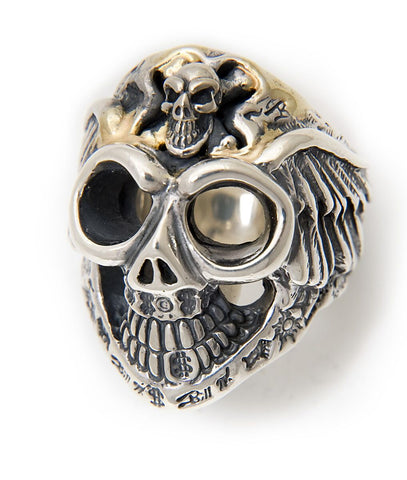 Graffiti Master Skull w/Wings Ring