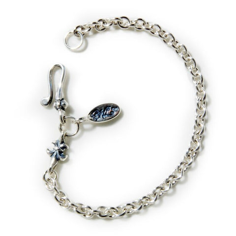 Round Chain Link Bracelet with Tiny Charm and Oval BWL Tag