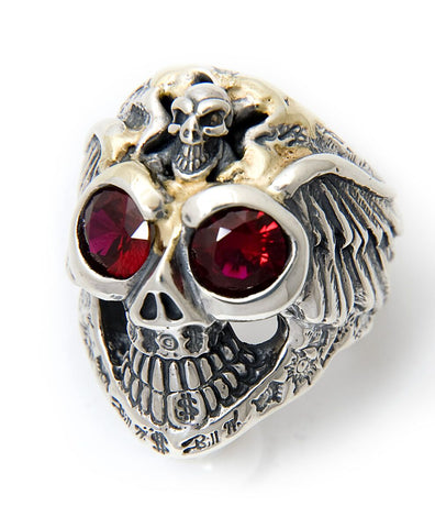 Graffiti Master Skull w/Wings & Stone Eyes Ring