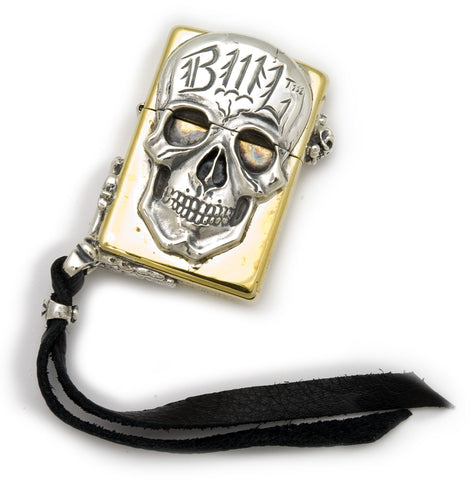 Brass Lighter with BWL Skull and Leather Corner