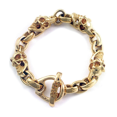 22k Good Luck Skull and Chain Bracelet