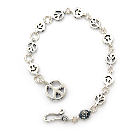 Alternating Small Happy Face and Peace Sign Links with Peace Fob Bracelet