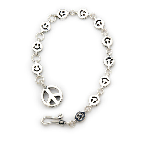 Small Happy Face Links with Peace Fob Bracelet