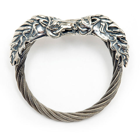 Horse Head Cable Bangle Bracelet