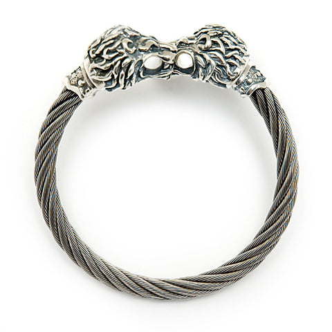 Lion Head Cable Bangle Bracelet