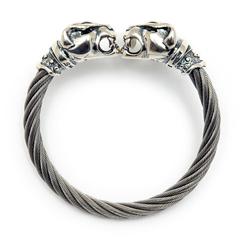 Panther Head Cable Bangle Bracelet