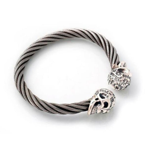 Graffiti Vintage Skull Cable Bangle Bracelet