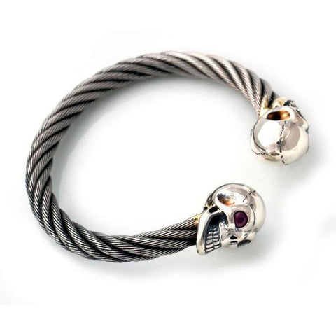 Graffiti Vintage Skull Cable Bangle Bracelet Bill's Way
