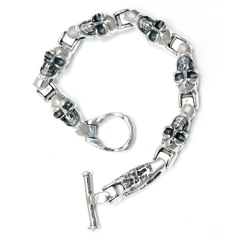 U-Joint Bracelet with Good Luck Skulls and One Graffiti Link