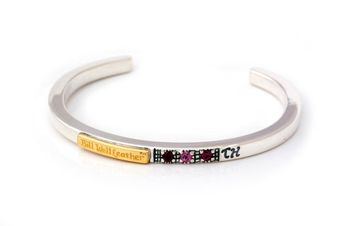 BWL Bracelet - Square Smooth Bangle with 3 Natural Stones and Gold Skid Plate