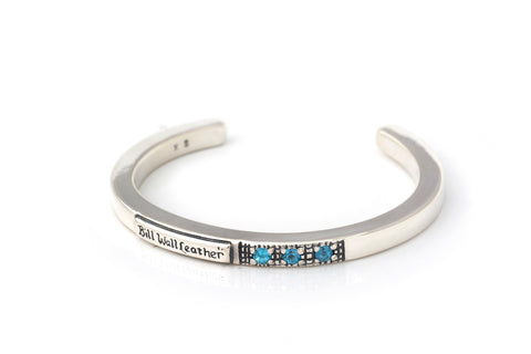 BWL Bracelet -Square Smooth Bangle with 3 Stones