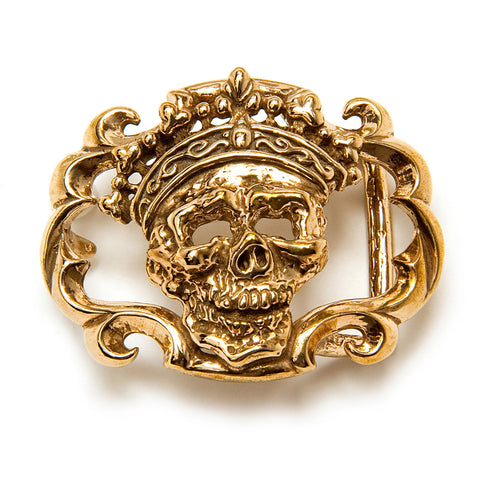 Bronze Skull Crown Belt Buckle