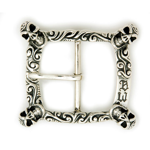 Square Wave with 4 Good Luck Skulls Belt Buckle