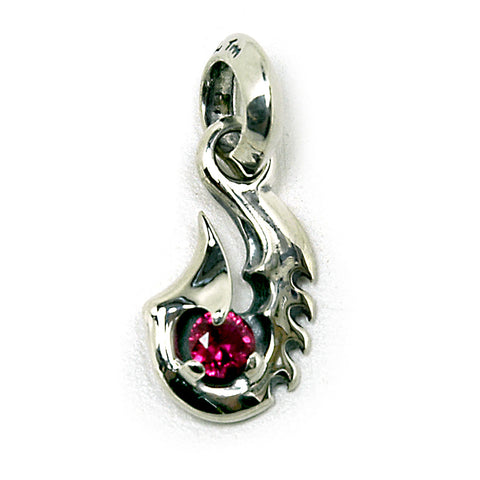 Fish Hook with Gemstone Charm