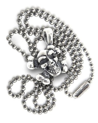 Skull and Crossbones (diagonal) with 2mm Ball Chain