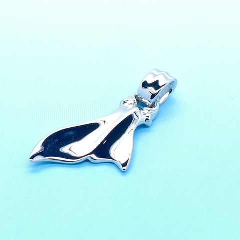 Whale Tail Charm with Rhodium Plating