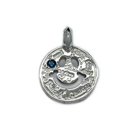 Graffiti Happy Face Charm Custom Rhodium Plated with Blue Zircon