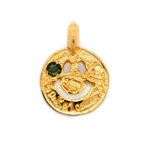 Graffiti Happy Face Charm Custom 18k Yellow Gold Plated with Peridot