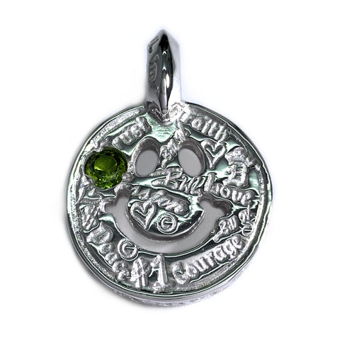 Graffiti Happy Face Charm Custom Rhodium Plated with Peridot