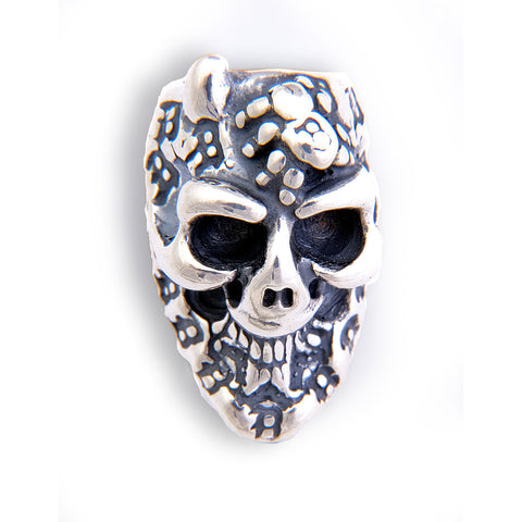 Graffiti Skull Bead with 1 Horn, Spider and B Crown Charm