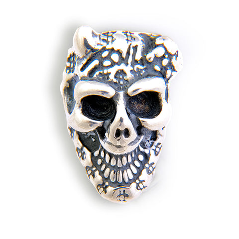 Graffiti Skull Bead with 1 Horn, Spider and $ Charm