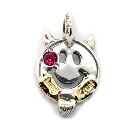 Happy Face with Horns and Beard Charm Custom