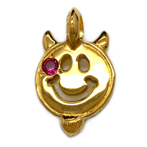 Happy Face with Horns and Beard 18k Yellow Gold Plated Custom Charm