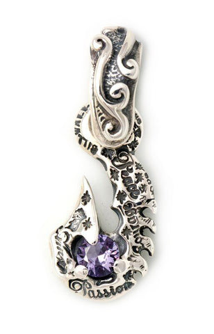 Graffiti Fish Hook Large Wave Bale with Gemstone Charm